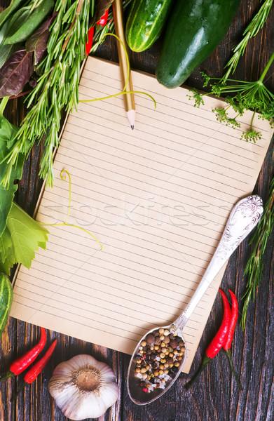 Stock fotó: Jegyzet · recept · fűszer · asztal · étel · notebook