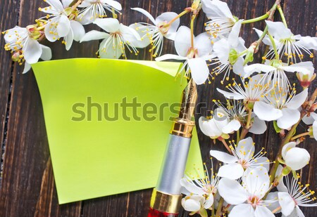 flowers and paper on wooden background Stock photo © tycoon