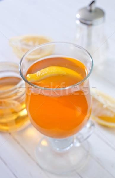 Herbaty cytryny wody owoców śniadanie kubek Zdjęcia stock © tycoon