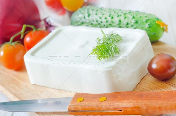 Hozzávalók görög saláta olaj paradicsom fehér Stock fotó © tycoon