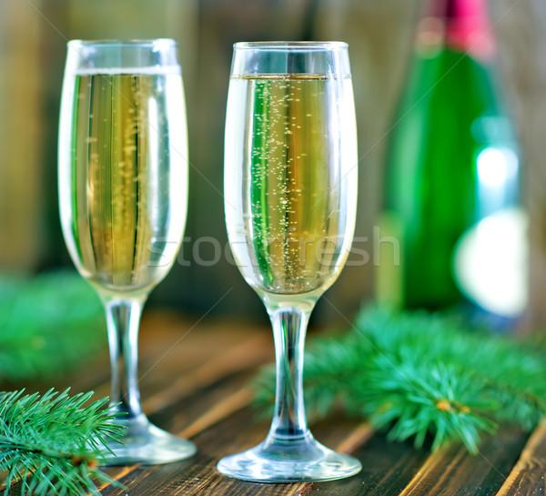 ストックフォト: 眼鏡 · 白ワイン · 表 · 食品 · ワイン · 市