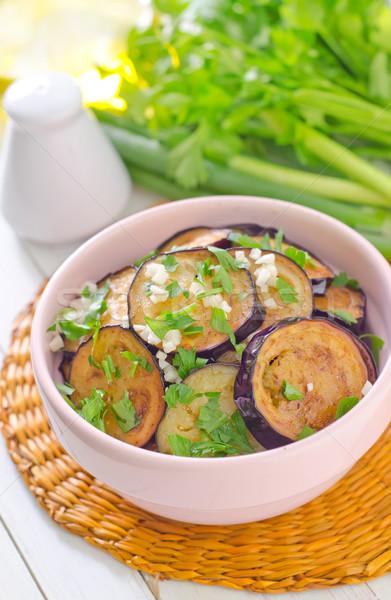 Frito berenjena alimentos madera luz vidrio Foto stock © tycoon