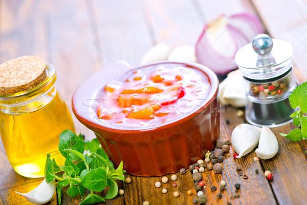 Sos çanak tablo gıda uzay yeşil Stok fotoğraf © tycoon