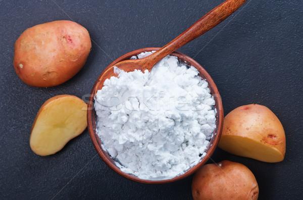 Ziemniaczanej skrobia puchar tabeli kuchnia biały Zdjęcia stock © tycoon