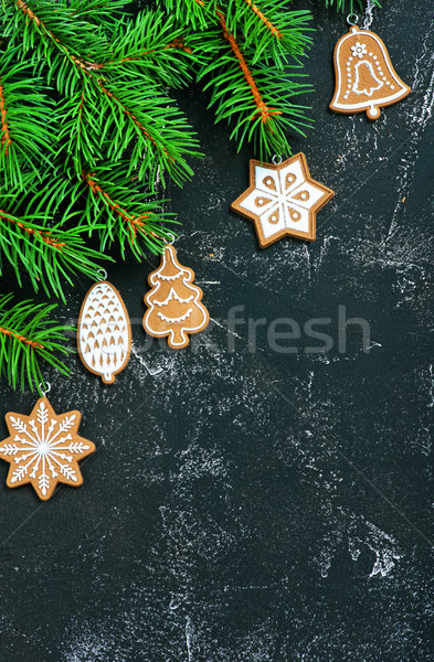Stockfoto: Christmas · decoratie · tabel · hout · abstract · achtergrond