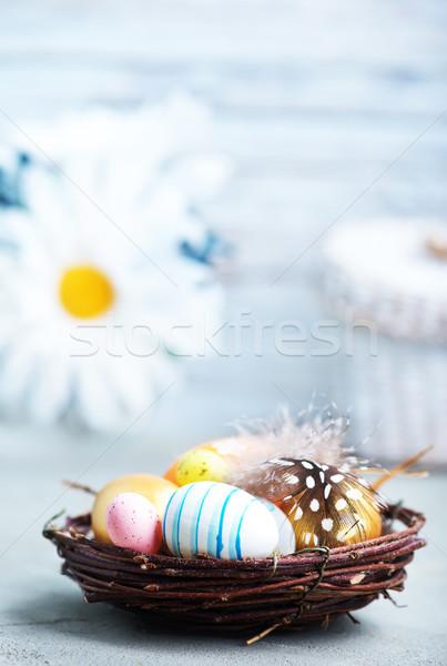 Húsvéti tojások szín asztal húsvét étel boldog Stock fotó © tycoon