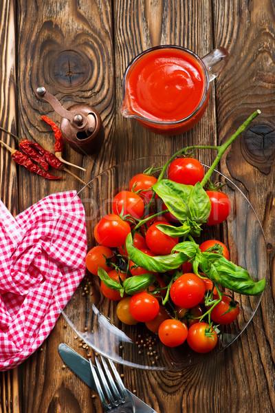 トマト 新鮮な バジル 木製のテーブル 食品 自然 ストックフォト © tycoon
