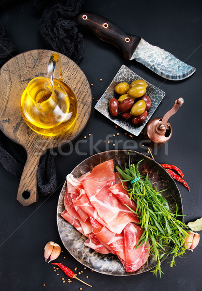 Prosciutto épices plaque stock photo alimentaire Photo stock © tycoon