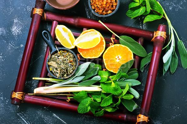 Gyógynövény tea friss menta bambusz tálca víz Stock fotó © tycoon