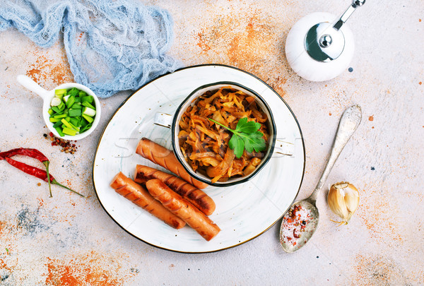 Salsichas repolho salsicha prato frito comida Foto stock © tycoon