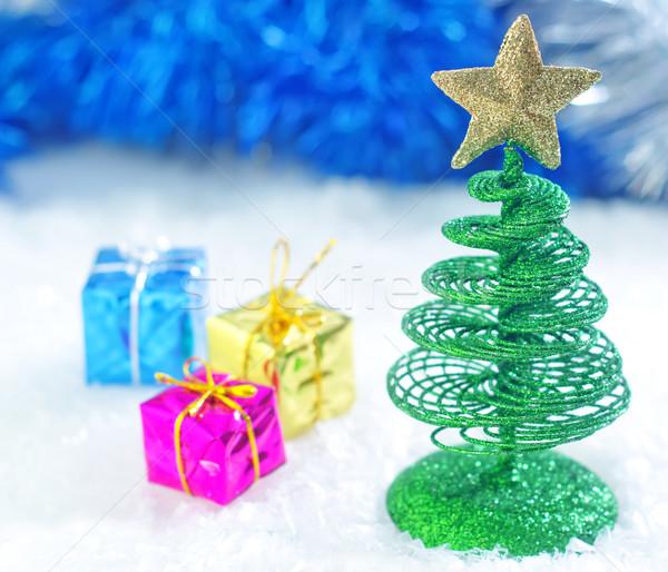 Karácsony dekoráció boldog terv hó zöld Stock fotó © tycoon