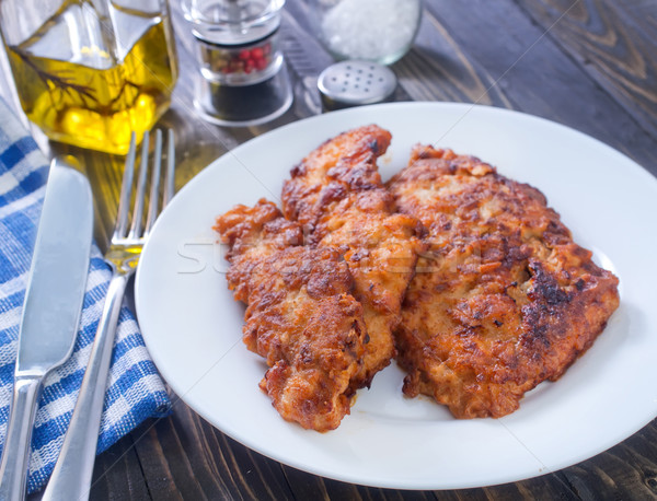 Сток-фото: жареная · курица · фон · груди · мяса · жира · студию