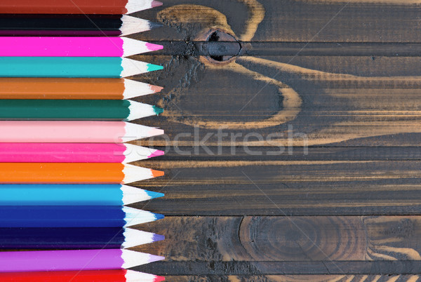 Сток-фото: карандашей · деревянный · стол · цвета · древесины · дизайна · искусства
