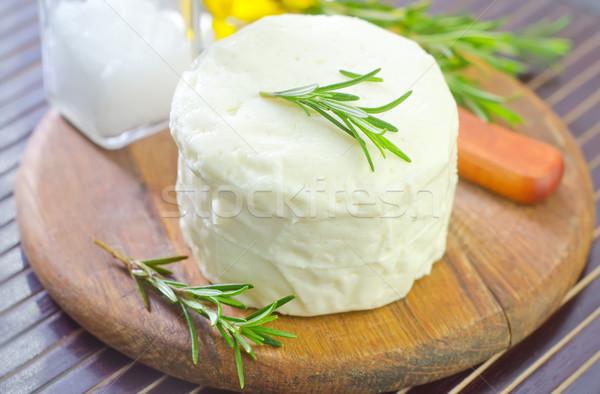 チーズ 表 ナイフ 白 料理 新鮮な ストックフォト © tycoon