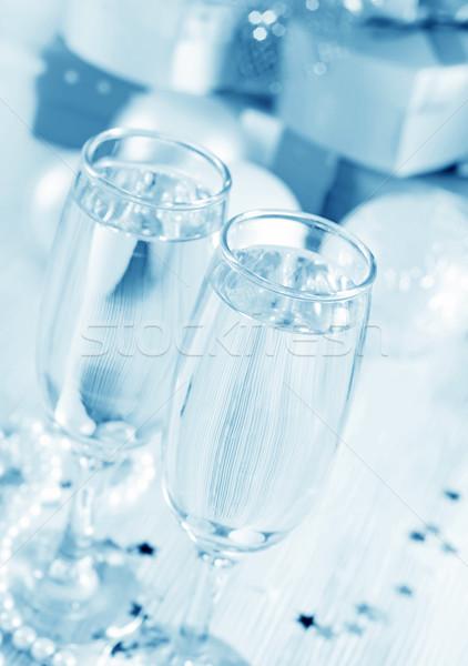 Champagne fluiten boom ontwerp paar sterren Stockfoto © tycoon