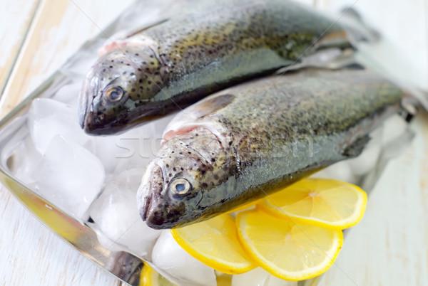 Fisch Essen Restaurant rot Zitrone Stock foto © tycoon