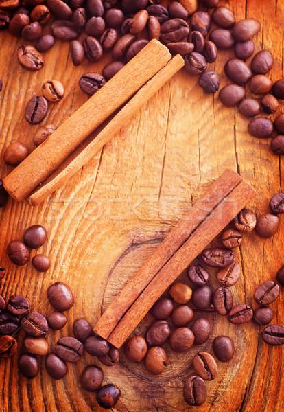 Quadro grãos de café canela café natureza Foto stock © tycoon