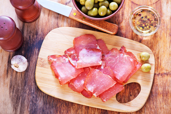 Fumado carne tabela comida fundo Foto stock © tycoon