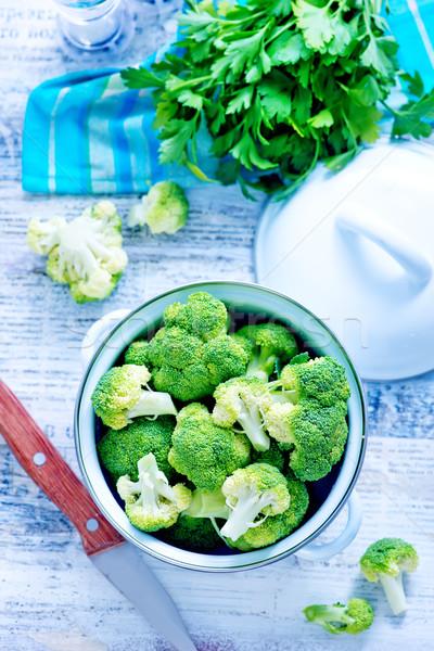 Nyers brokkoli tál asztal háttér levelek Stock fotó © tycoon