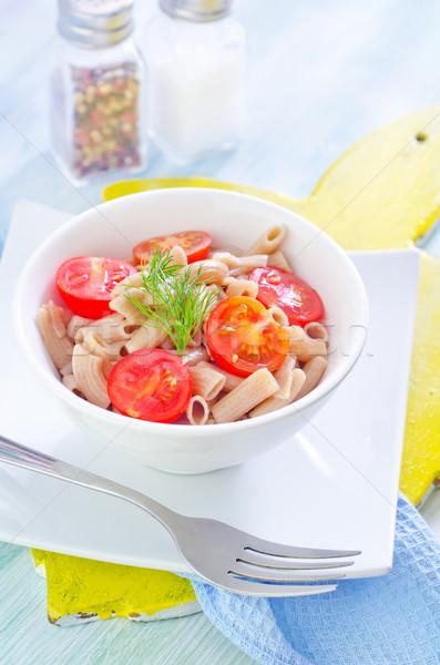 Macarrão tomates restaurante queijo prato garfo Foto stock © tycoon