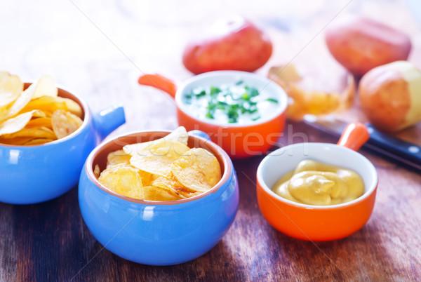 Batatas fritas molho tabela comida Óleo rápido Foto stock © tycoon