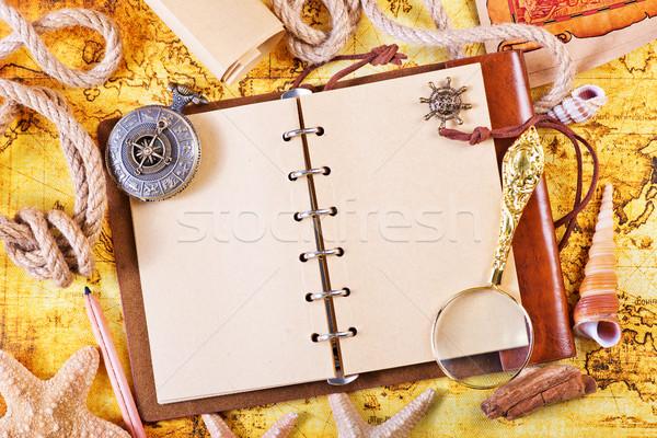 öreg notebook nagyító iránytű térkép papír Stock fotó © tycoon