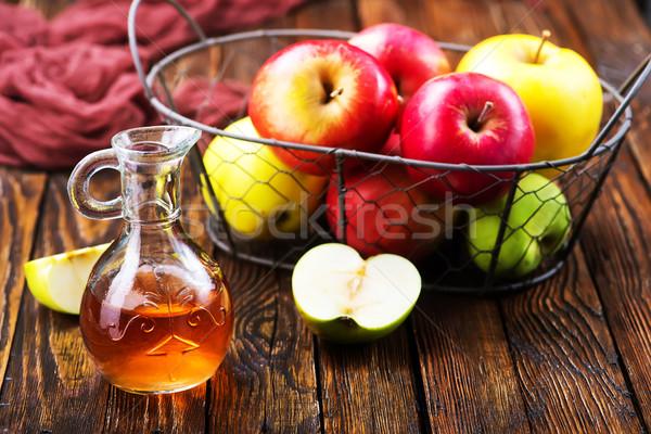 Jabłko jabłecznik ocet butelki tabeli owoców Zdjęcia stock © tycoon