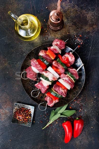 Kebap et sebze lezzet baharat akşam yemeği Stok fotoğraf © tycoon