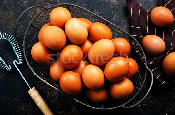Nyers tojások fém kosár asztal fa Stock fotó © tycoon