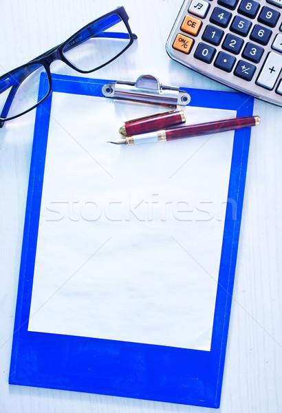 Foto d'archivio: Pelle · notebook · pen · bianco · ufficio · carta