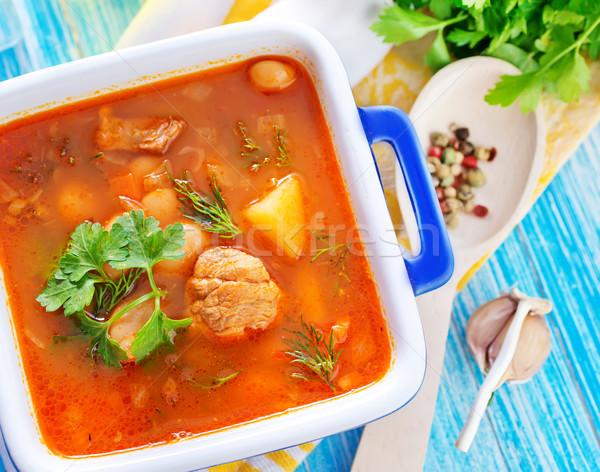 фасолевый суп кухне хлеб приготовления морковь есть Сток-фото © tycoon