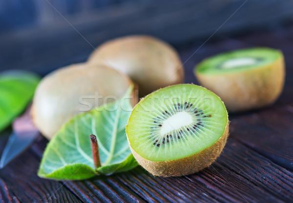Kiwi vers houten tabel bloem voedsel Stockfoto © tycoon