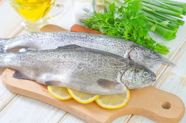 Fisch Essen Auge Regenbogen Fleisch Stock foto © tycoon