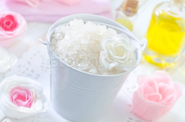 Zeezout Blauw bad douche cosmetische gezondheidszorg Stockfoto © tycoon