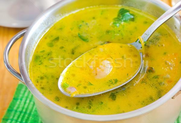 Soep kaas metaal kom wijn achtergrond Stockfoto © tycoon