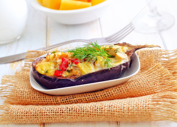 stuffed eggplants on the white plate Stock photo © tycoon