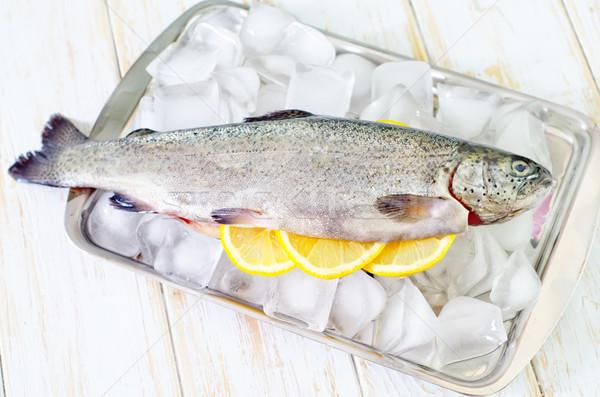 Nyers pisztráng étel hal jég piros Stock fotó © tycoon