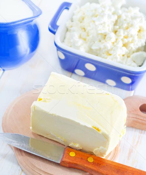 Photo stock: Beurre · lait · chalet · alimentaire · feuille · verre