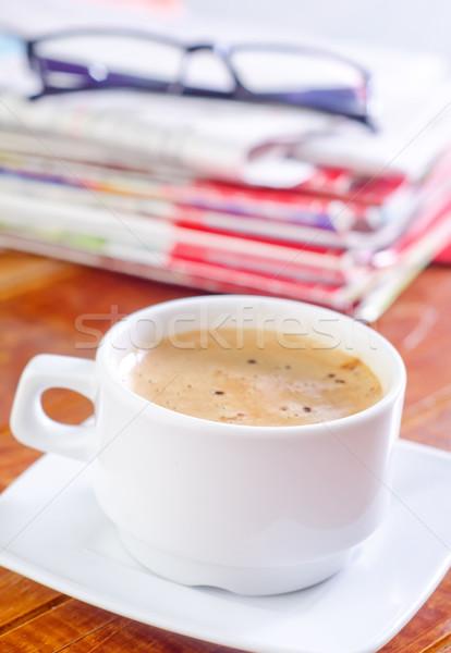 Stok fotoğraf: Kahve · çalışmak · gazete · gözlük · çalışma · iş