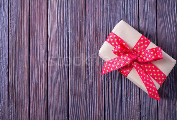 プレゼント ボックス 現在 木製のテーブル 木材 ストックフォト © tycoon