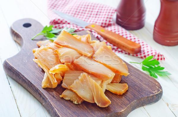 Fumado peixe conselho comida madeira verde Foto stock © tycoon