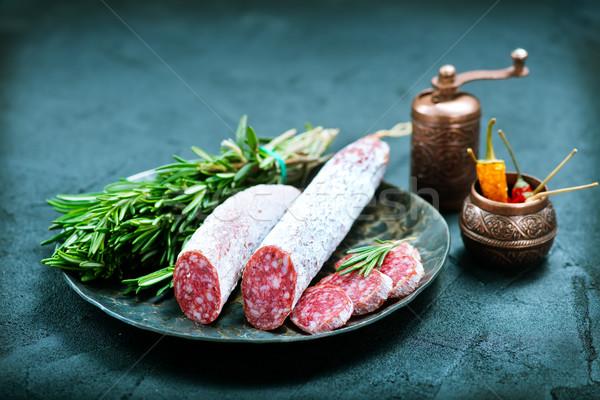 Salam lezzet baharat tahta gıda arka plan Stok fotoğraf © tycoon