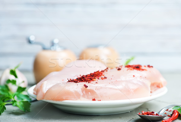 Brut poulet filet épices bord fond Photo stock © tycoon
