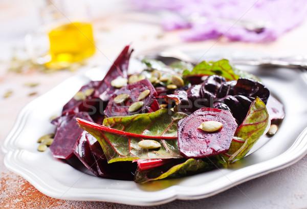 Saláta diók fém tányér tavasz levél Stock fotó © tycoon