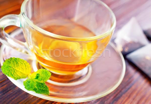 ミント 茶 茶碗 表 ガラス 背景 ストックフォト © tycoon