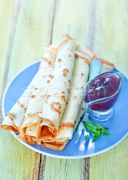 Panquecas framboesa congestionamento prato comida quente Foto stock © tycoon