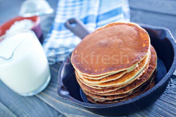 Panquecas comida deserto tabela azul quente Foto stock © tycoon