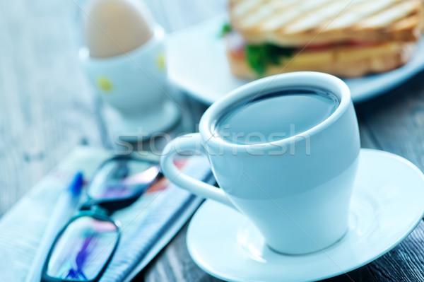 Kahvaltı kahve yumurta plaka kâğıt Stok fotoğraf © tycoon