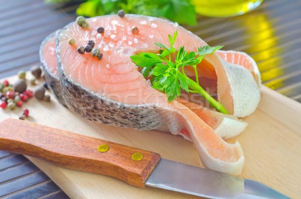 ストックフォト: 鮭 · 食品 · 健康 · 背景 · ディナー · 赤
