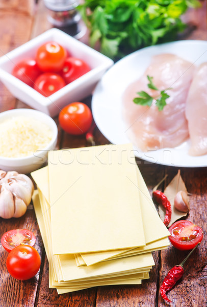 Ingredienti lasagna tavolo in legno luce seno tavola Foto d'archivio © tycoon